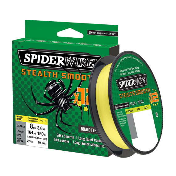 Spiderwire Stealth Smooth 12, 150m Hi-Vis Yellow i gruppen Fiskelinor / Flätlinor & Superlinor hos Sportfiskeprylar.se (1507374r)