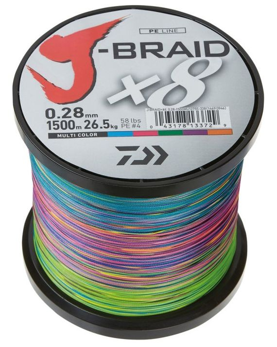 Daiwa J-Braid X8 1500m Multi Color i gruppen Fiskelinor / Flätlinor & Superlinor hos Sportfiskeprylar.se (200218r)