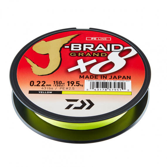 Daiwa J-braid Grand X8 Yellow 135m i gruppen Fiskelinor / Flätlinor & Superlinor hos Sportfiskeprylar.se (210654r)