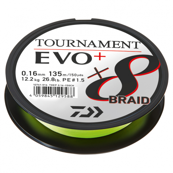 Daiwa Tournament X8 Braid Evo+ Chartreuse 135m i gruppen Fiskelinor / Flätlinor & Superlinor hos Sportfiskeprylar.se (216401r)