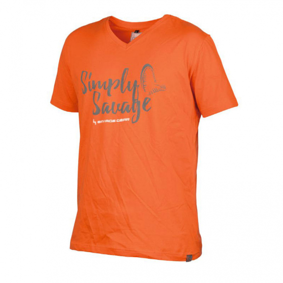 Savage Gear Simply Savage V-neck Tee Orange i gruppen Kläder / Tröjor & T-shirts hos Sportfiskeprylar.se (57062r)
