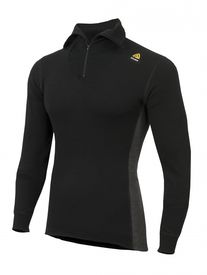 Aclima Warmwool Polo med Zip Jet Black Marengo, Large