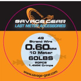 Savage Gear 49Strand Wire 0.39mm 25lbs 10m 1.2mm Crimps
