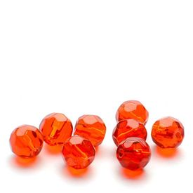 GLASS BEAD-FACET, RED 6mm