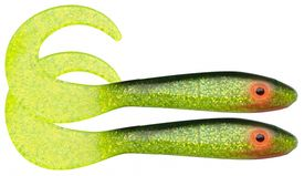 McRubber Tail 34cm 2-pack, Black n Chartreuse C19