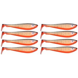 SvartZonker McRubberShad (8 pack) 9cm, C4 Red Tiger